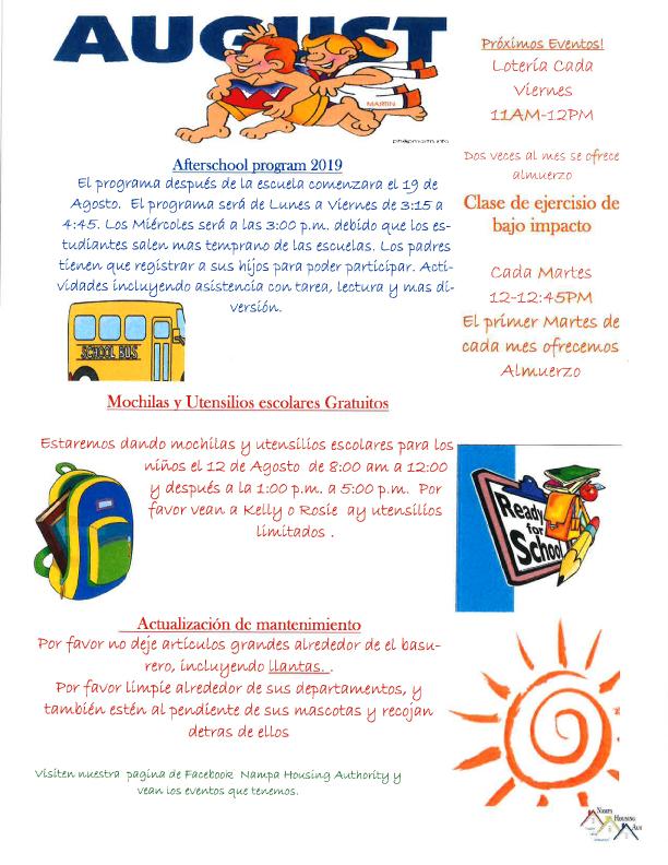 August 19 Newsletter Spanish
